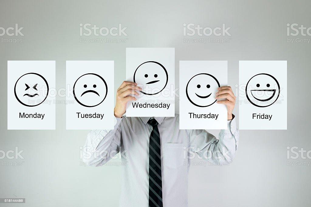 Weekly work emotion stock photo