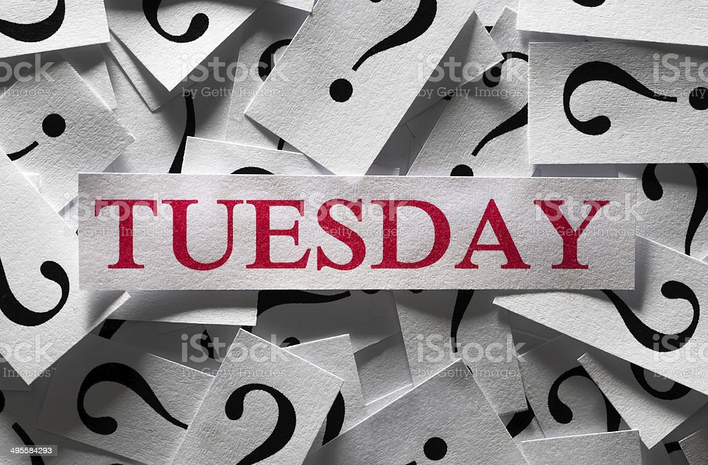 Week's day concept Tuesday stock photo