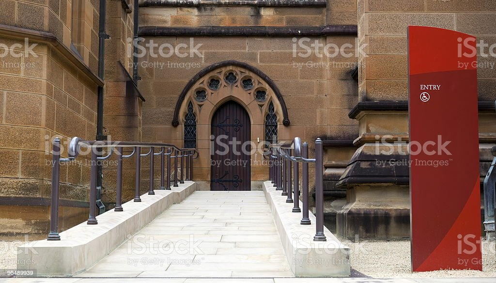 Weelchair entrance to Cathedral stock photo