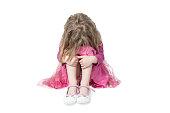 istock Weeping girl sitting on the floor 962008252