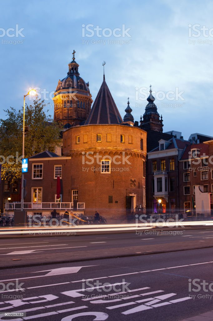 Weeping Tower at Dusk in Amsterdam stock photo