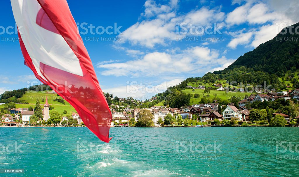 Weggis on the banks of Lake Lucerne stock photo