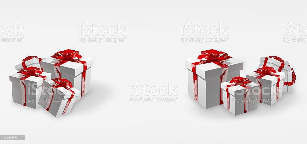 wei�e Weihnachtsgeschenke mit roten Schleifen festliche 3D Render stock photo