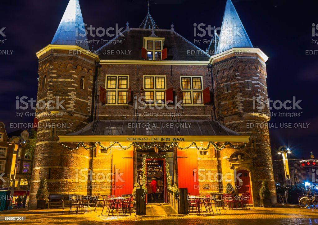 Weigh house or Waag at Nieuwmarkt or New market square in Amsterdam stock photo