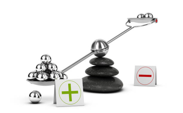 Weigh Pros and Cons, Benefit Risk Assesment. Positive Evaluation Seesaw containing metal spheres inclined on the positive side. Concept of Pros and cons analysis over white background. 3D illustration minus sign stock pictures, royalty-free photos & images