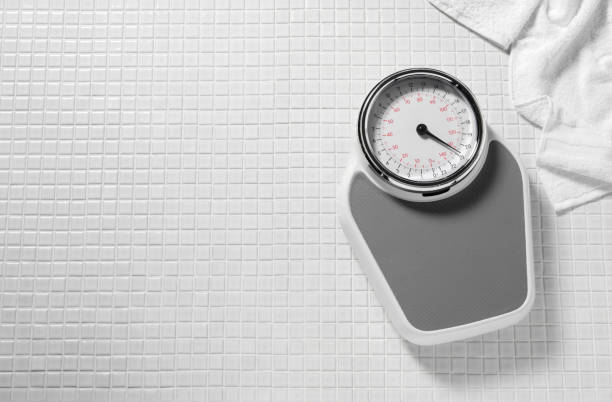 Weighing Scales in a Bathroom stock photo