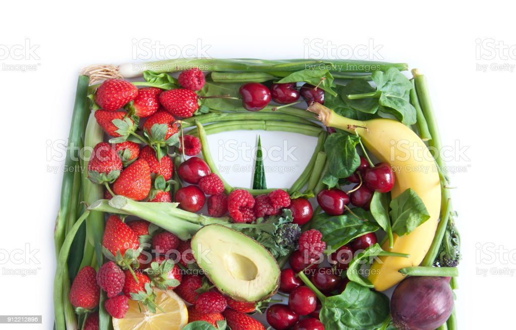Weighing scales made of food stock photo