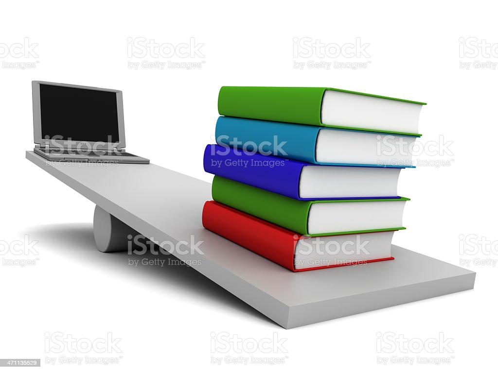 Weighs with books and laptop stock photo