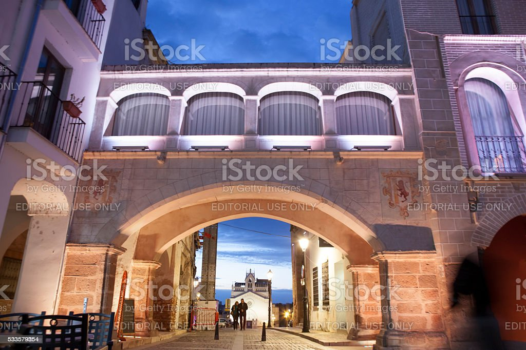 Weight Arch illuminated by led lights, Spain stock photo