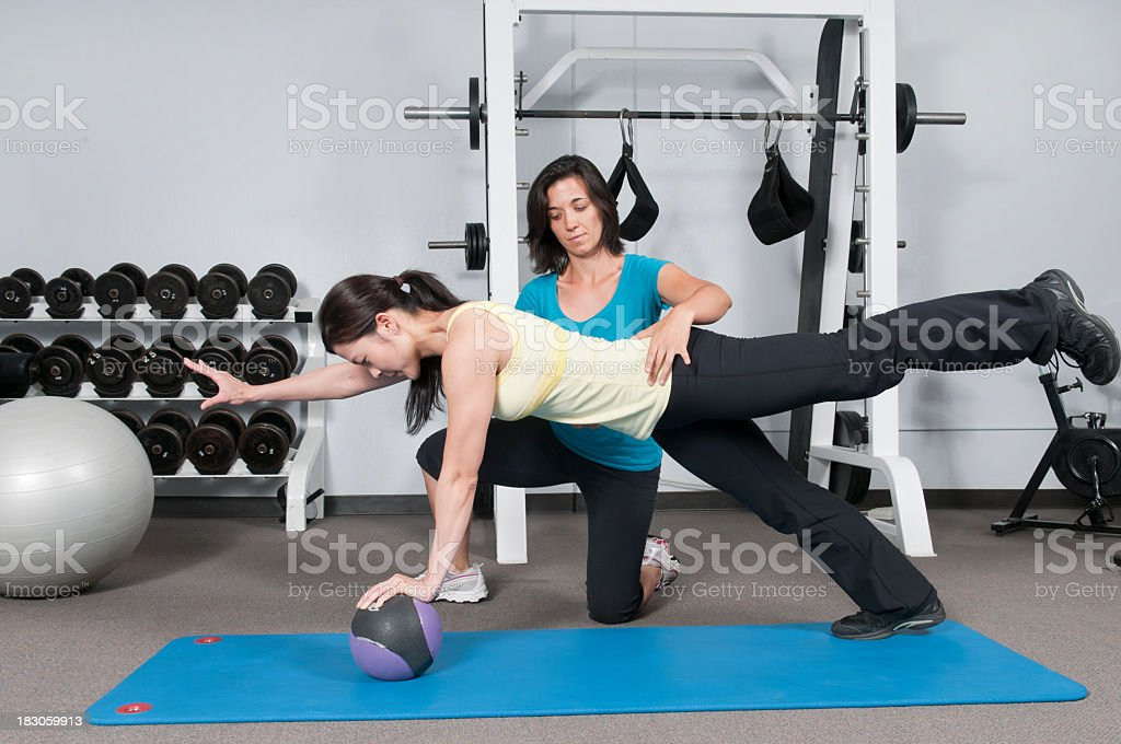 Weight Ball Balance and Strength Training royalty-free stock photo