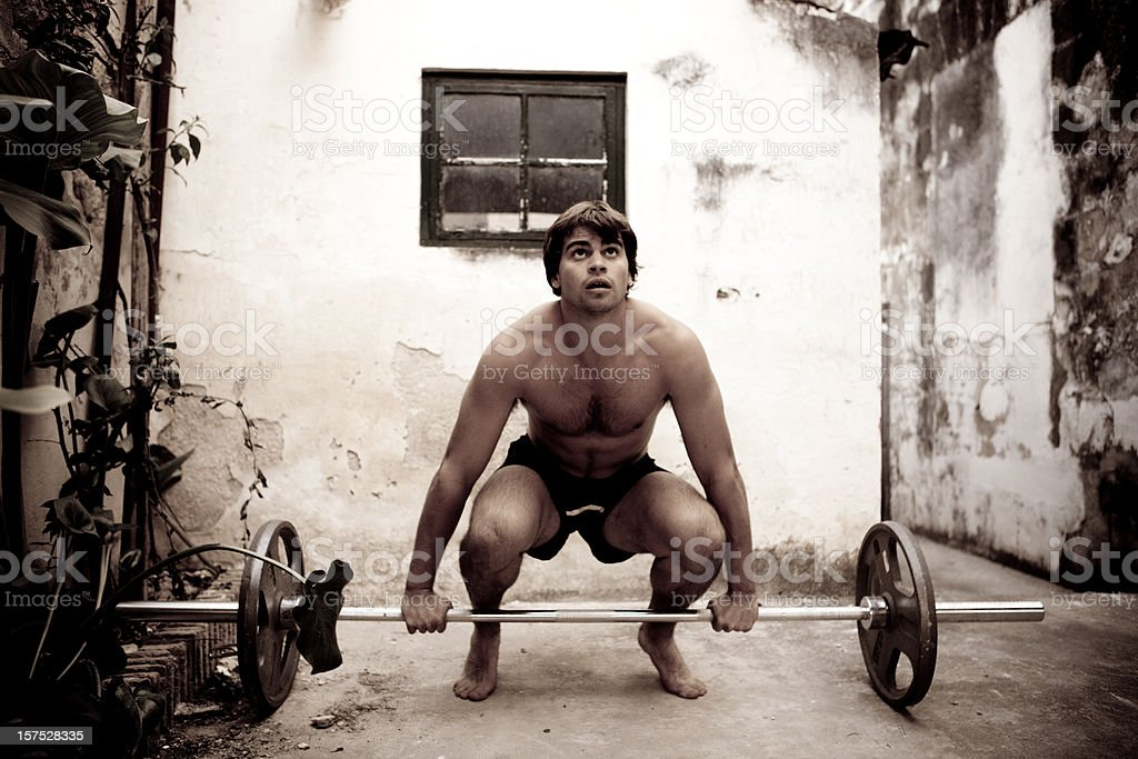 Weight lifting outdoors royalty-free stock photo
