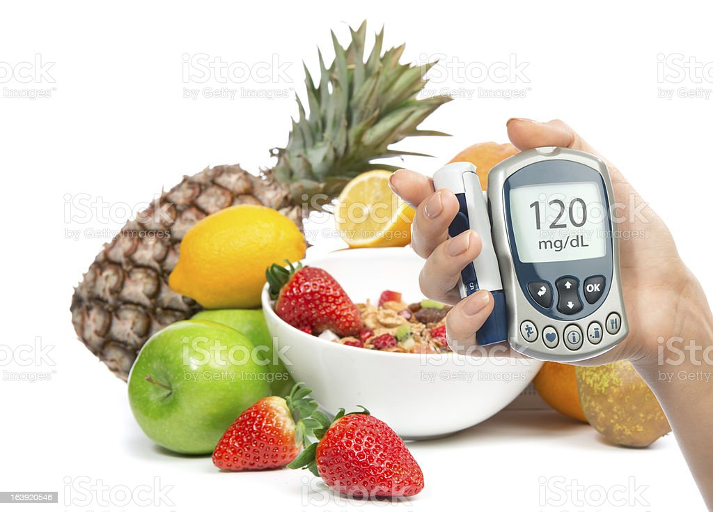 Weight loss breakfast concept with fruits stock photo