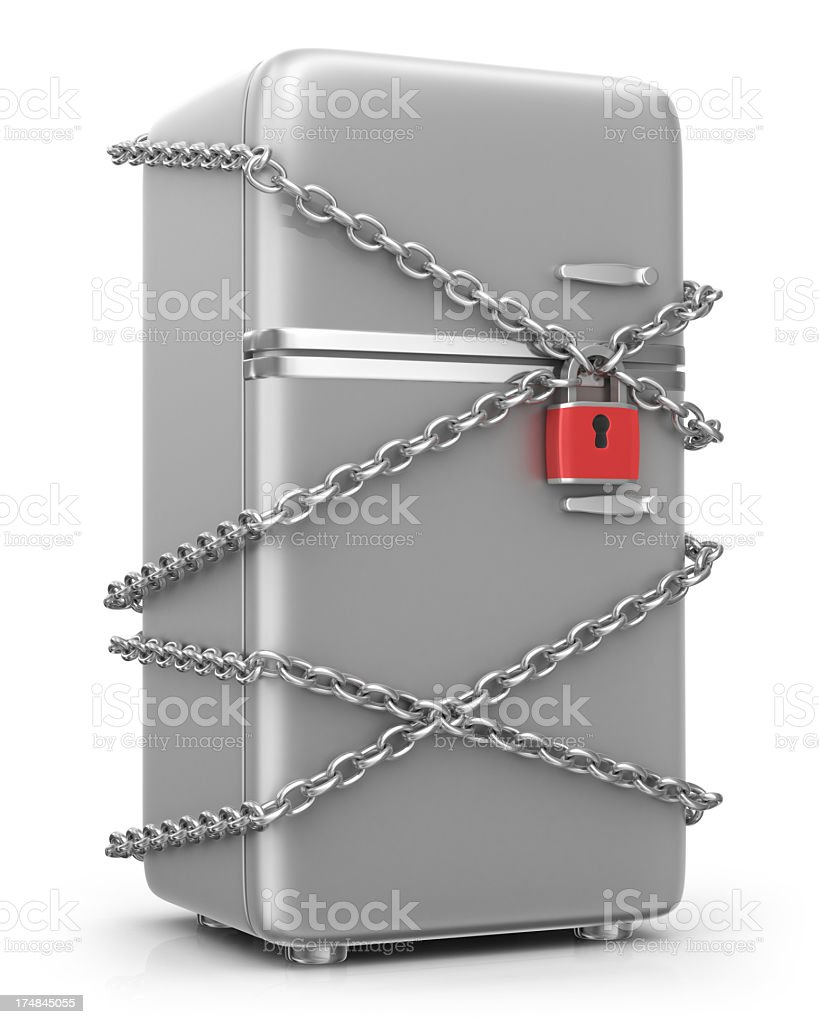 Weight Loss - Refrigerator in Chains royalty-free stock photo