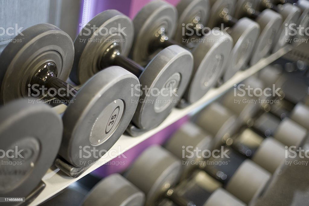Weight rack shallow depth of field royalty-free stock photo