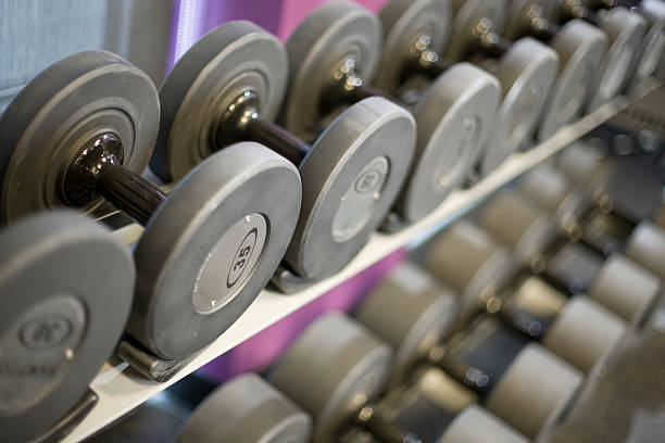 Weight rack shallow depth of field stock photo