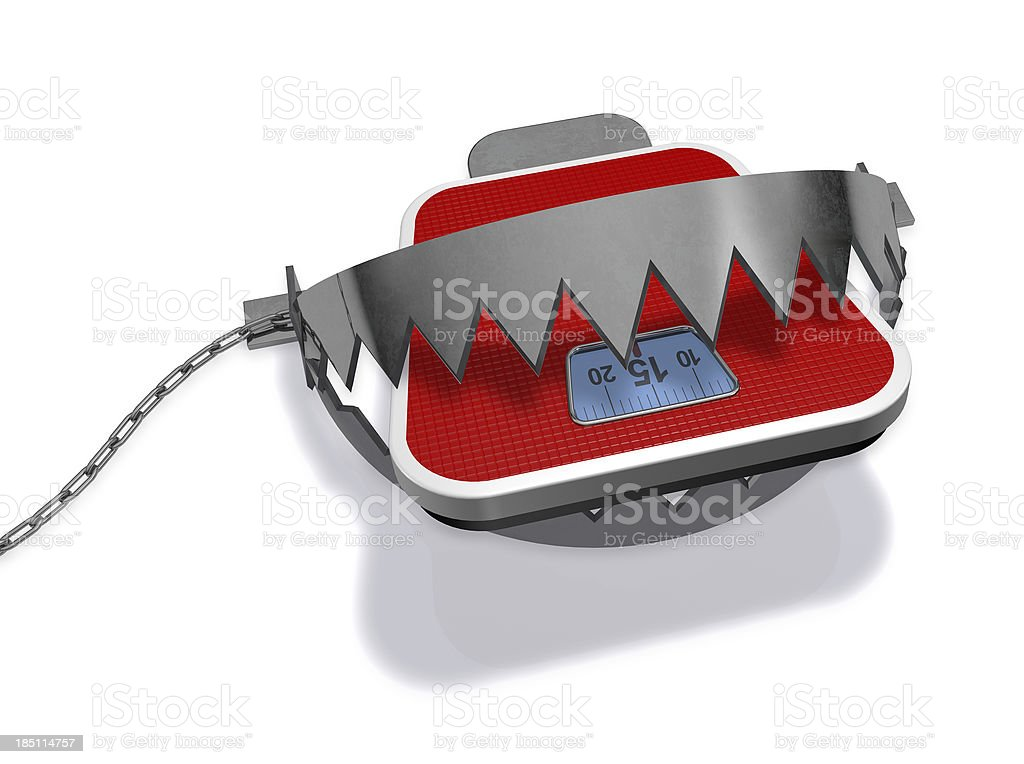 Weight scale and a trap stock photo