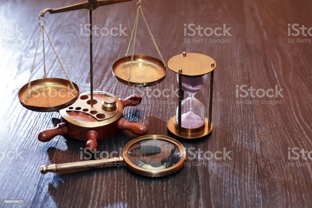 Weight Scale And Hourglass foto stock royalty-free