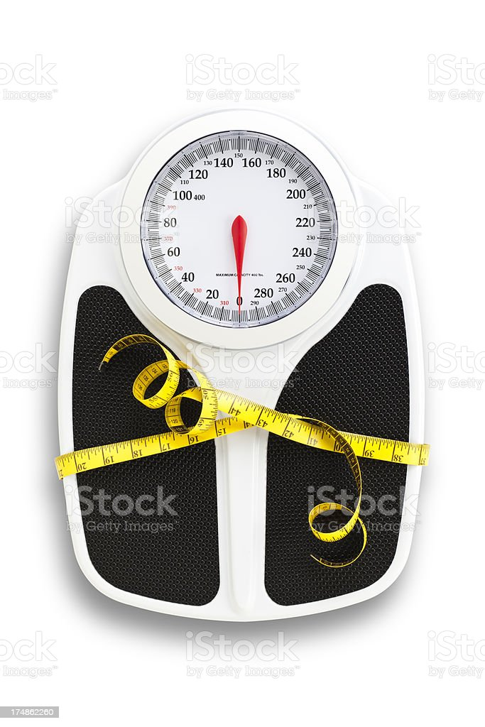 Weight Scale and Tape Measure, Dieting Concepts. stock photo