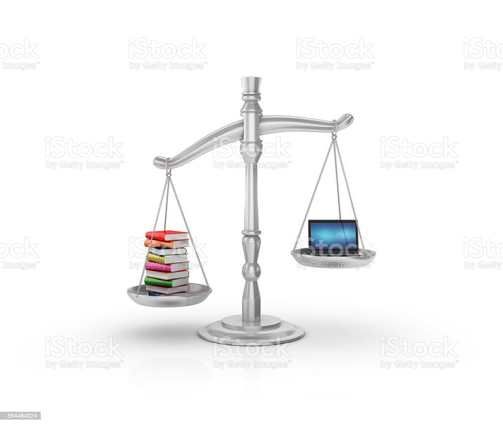 Weight Scale Books and Laptop stock photo