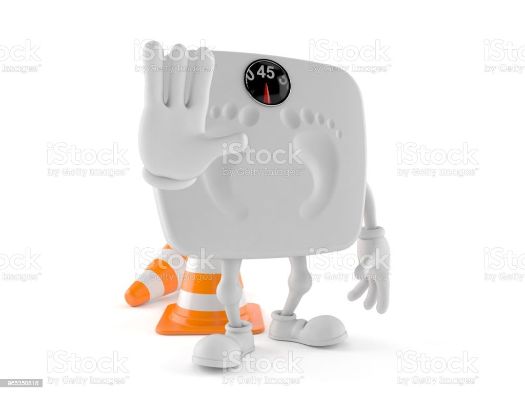 Weight scale character with stop gesture royalty-free stock photo