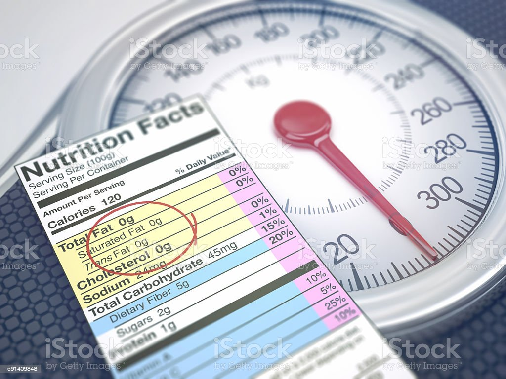 Weight Scale Nutrition Facts - foto de stock
