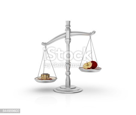 istock Weight Scale with Apple and Cake on White Background 544959602