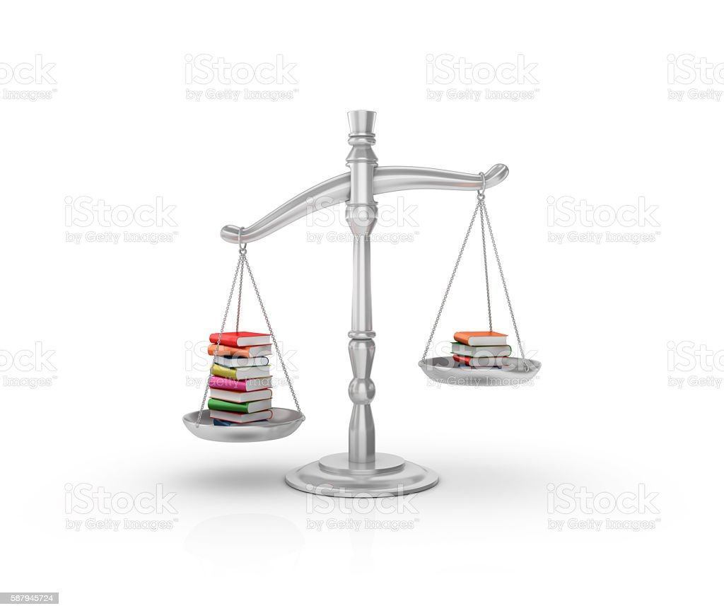 Weight Scale with Books stock photo
