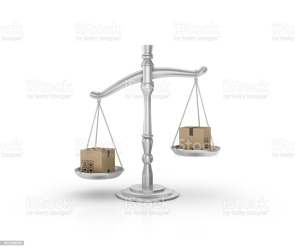 Weight Scale with Cardboard Boxes stock photo