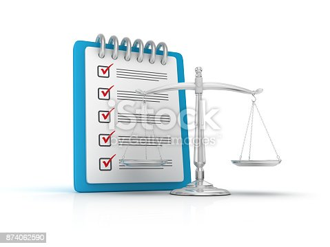 istock Weight Scale with Checklist Clipboard - 3D Rendering 874062590