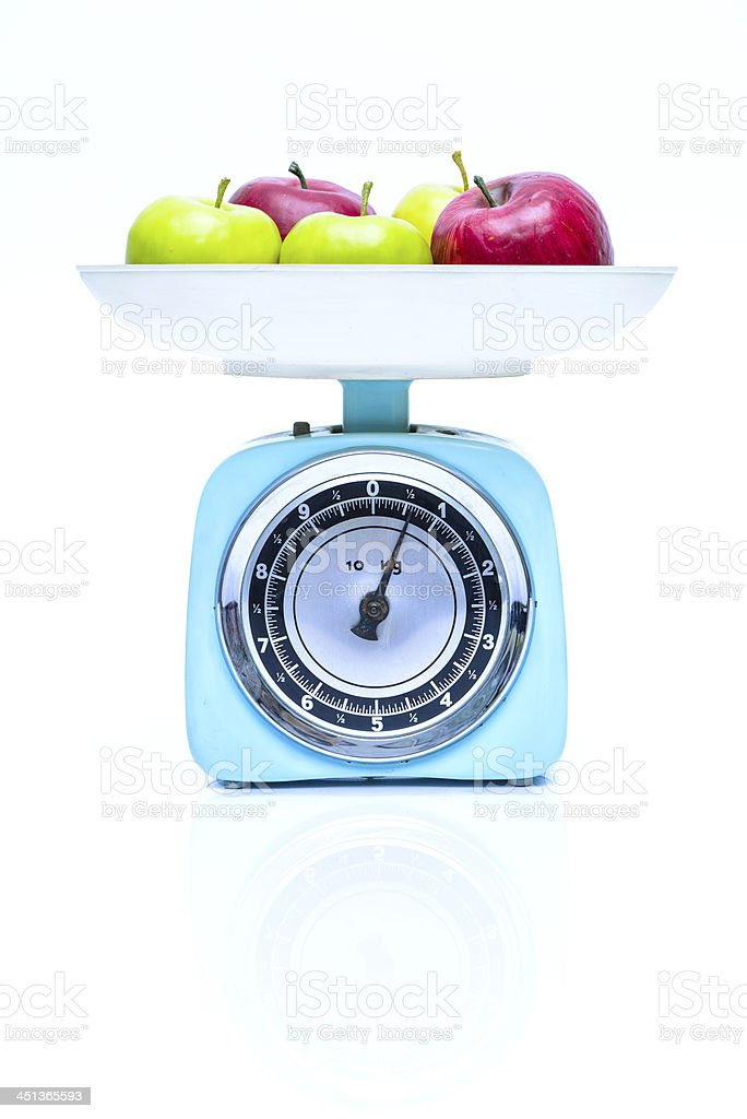Weight Scale With Fresh Apples Stock Photo