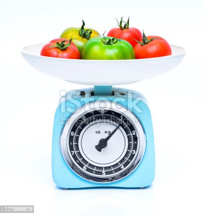 Weight scale with fresh tomatoes, ready to cook.