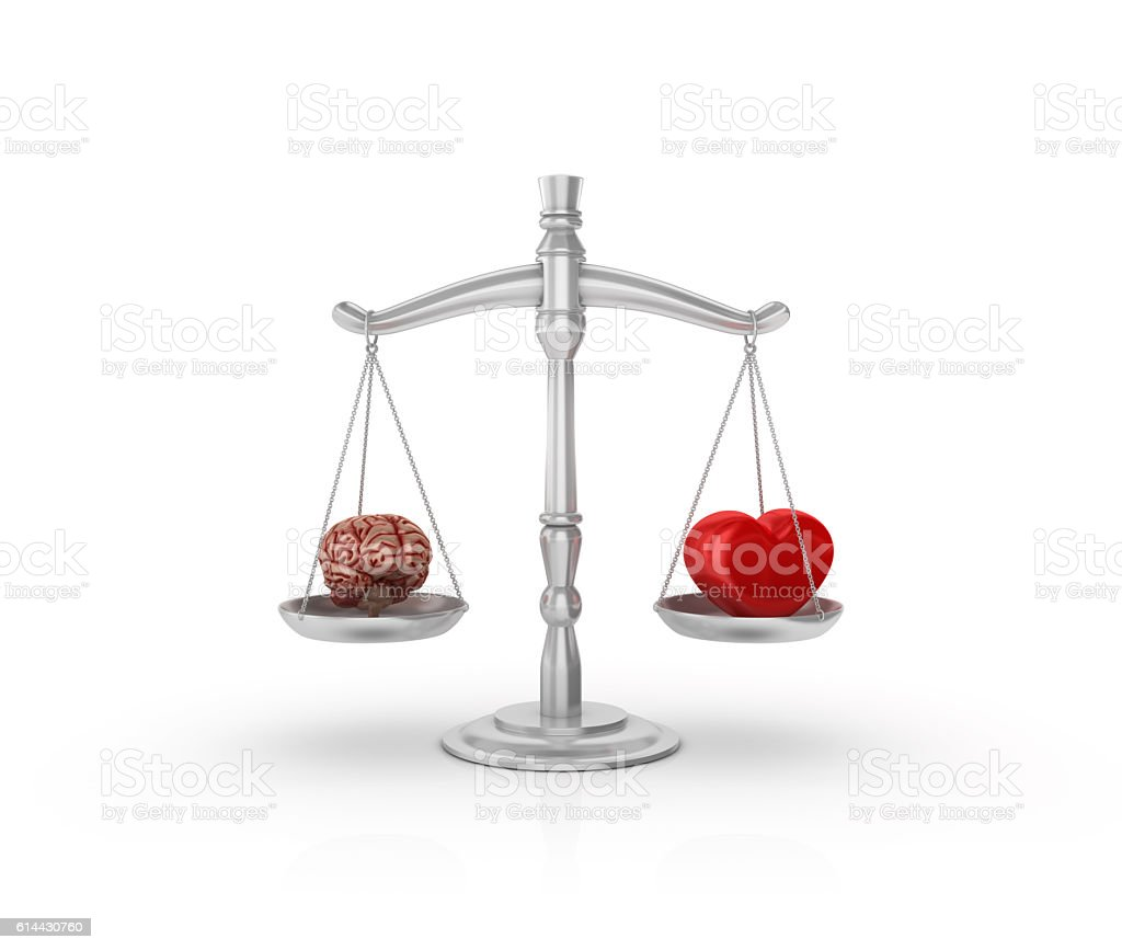 Weight Scale with Heart and Brain stock photo