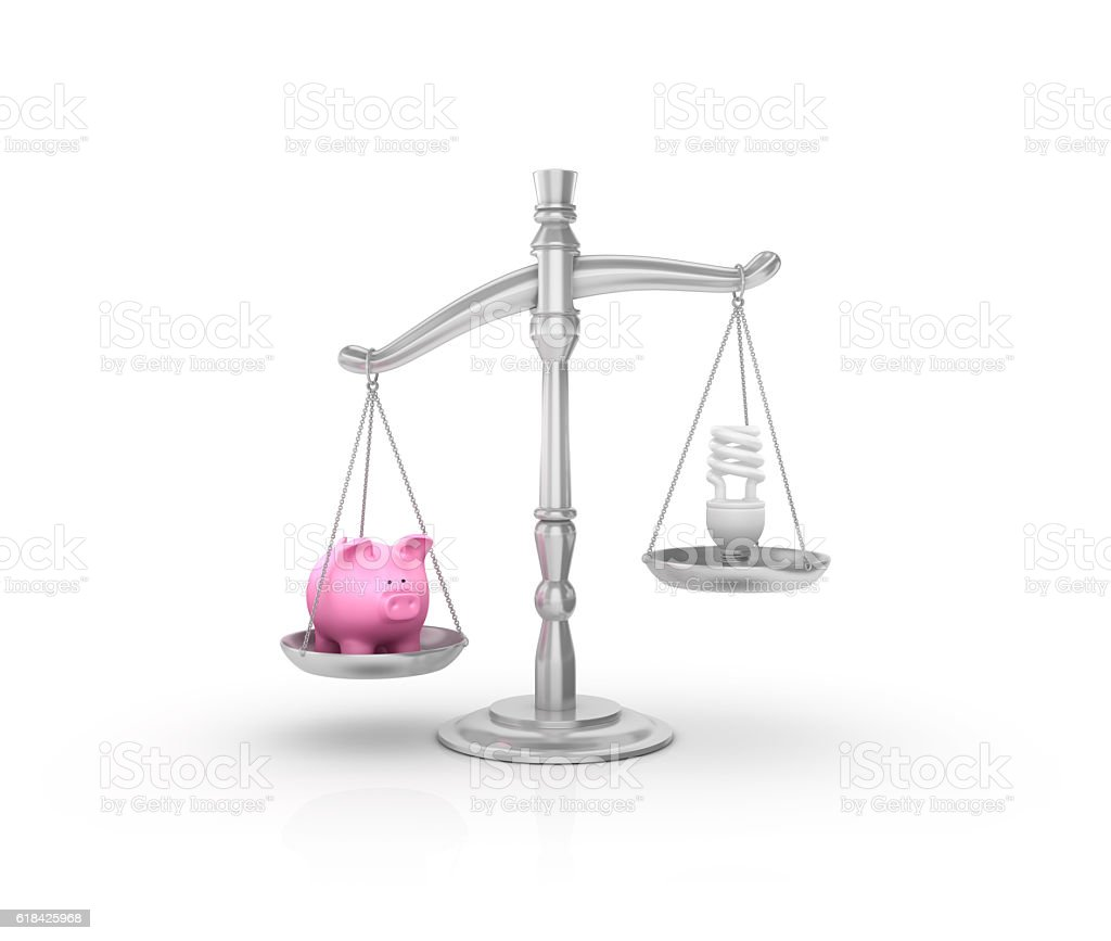 Weight Scale with Piggy Bank and Light Bulb stock photo