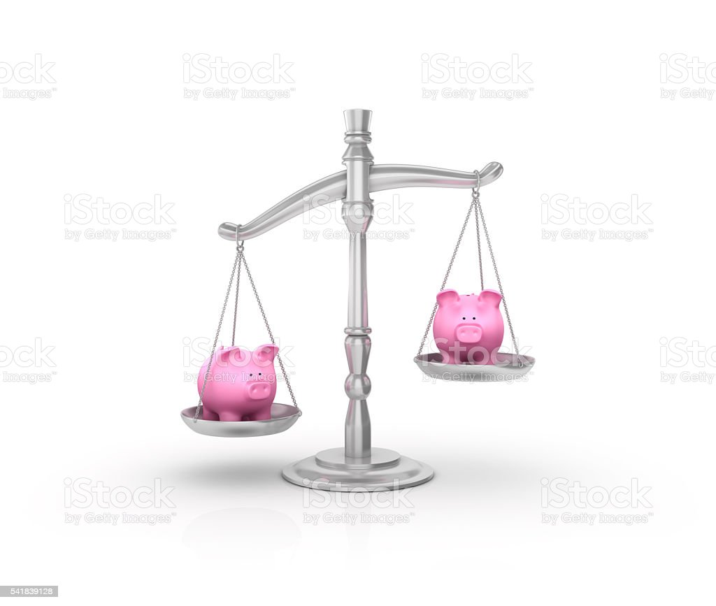 Weight Scale with Piggy Bank on White Background stock photo