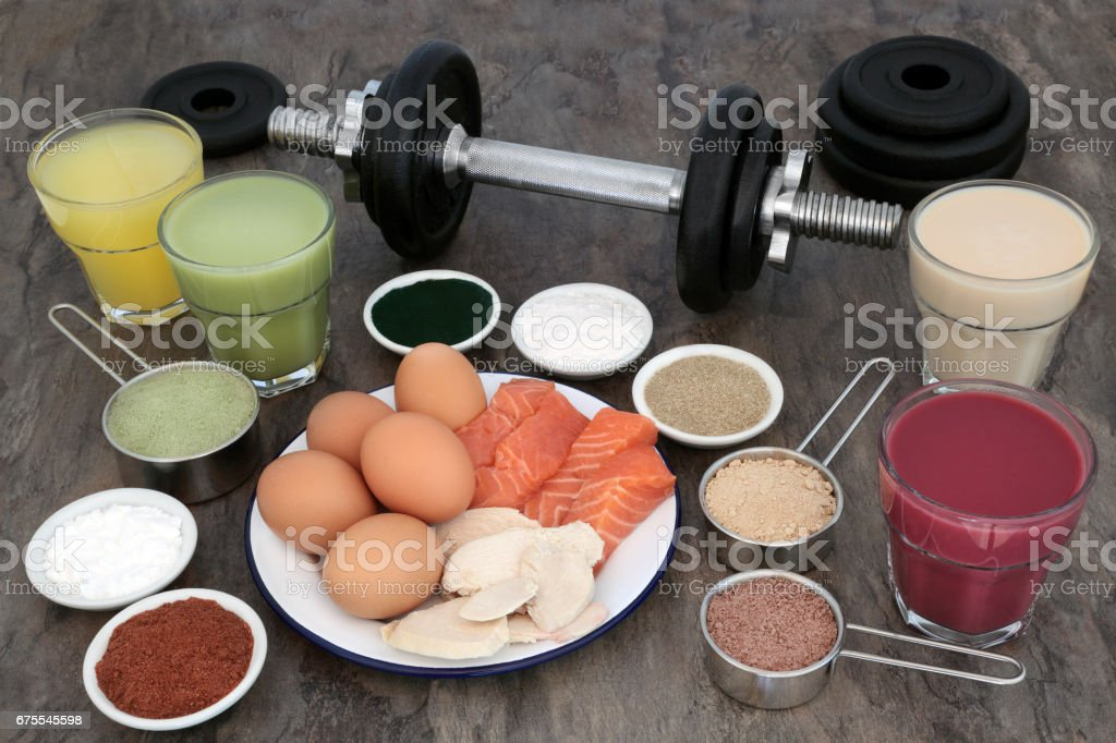 Weight Training Equipment and Food Supplements stock photo