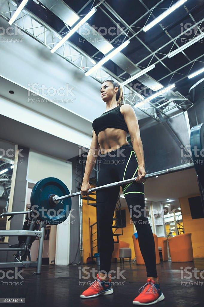 Treinamento de peso para mulheres foto royalty-free