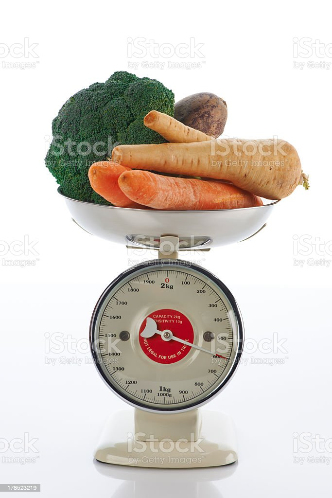 Weight with vegetables 600 grams per day the doctor says royalty-free stock photo