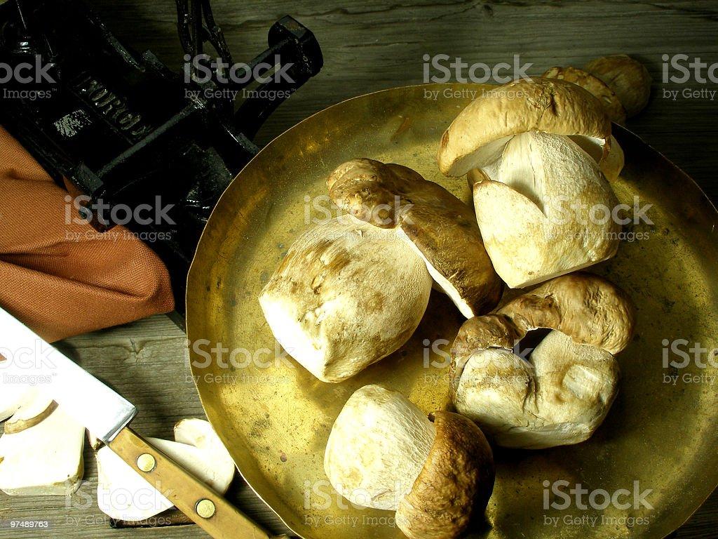 Weighting wild mushrooms royalty-free stock photo
