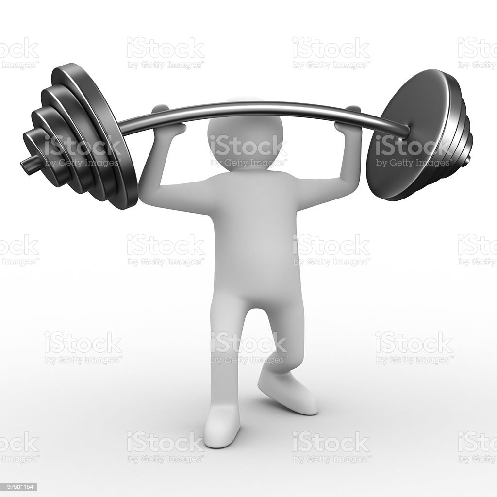 weight-lifter lifts barbell on white. Isolated 3D image royalty-free stock photo