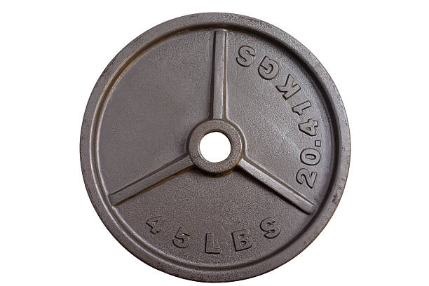 weightlifting - 45 lbs barbell weight stock photo