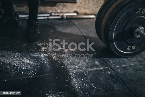 Weightlifting equipment in a gym