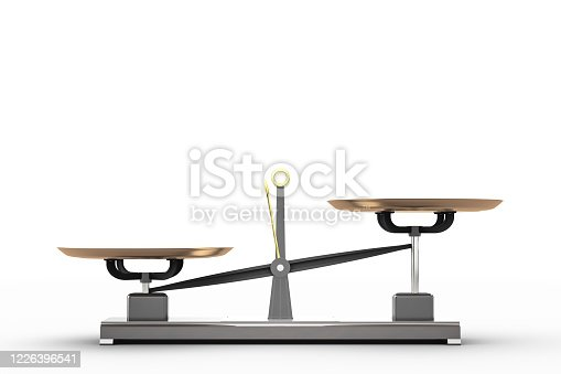 Weight-lifting scale with an imbalance on a white background. Side view. With copy space. 3d rendering
