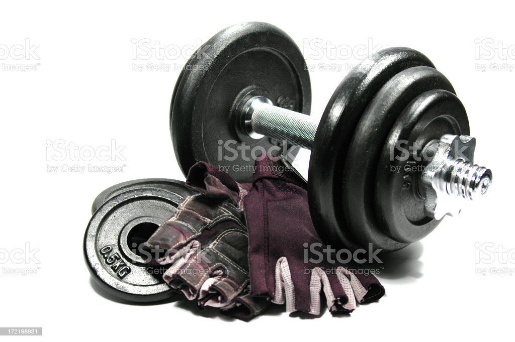 Weights and gloves for weightlifting. royalty-free stock photo