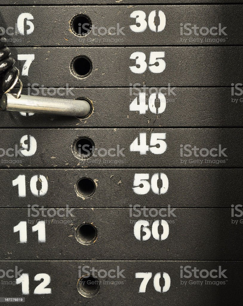 Weights on Exercise Machine stock photo