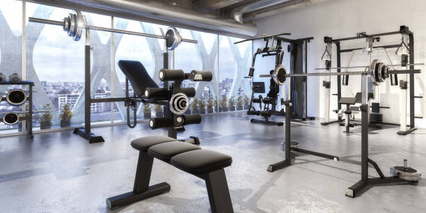 Weights Training Equipment (panoramic) Weights Training Equipment (panoramic) - 3d visualization exercise machine stock pictures, royalty-free photos & images