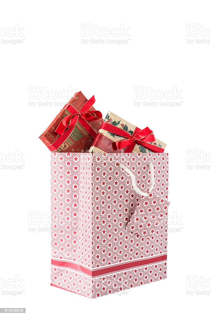 Weihnachtasche mit zwei Geschenken stock photo