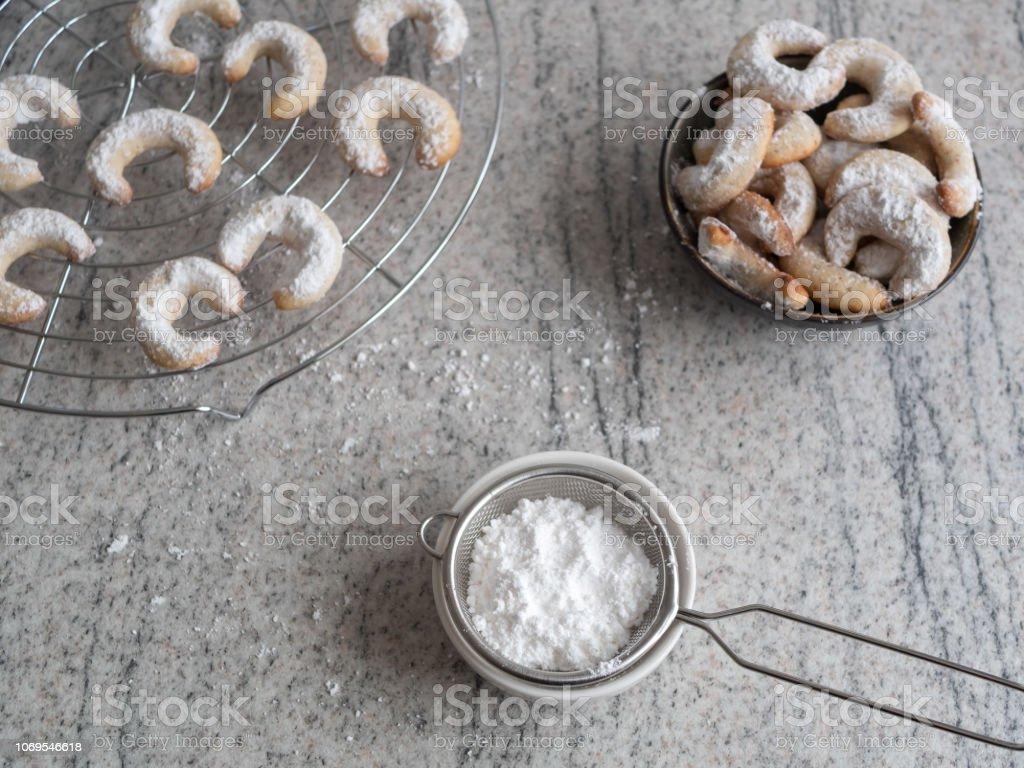 Speisen, Süßes, Keks, Weihnachten, Puderzucker, Essgeschirr, Sieb,...