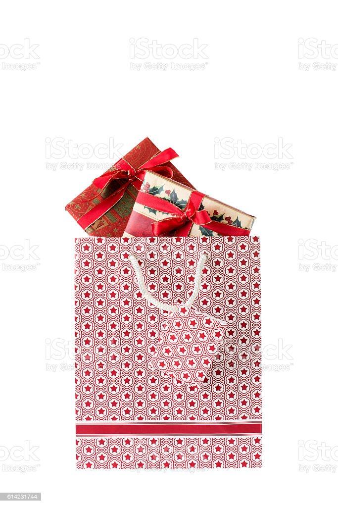 Weihnachtstasche mit Weihnachtsgeschenken stock photo