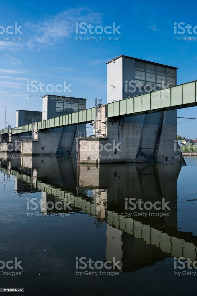 Weir and water lock Kostheim, Germany stock photo