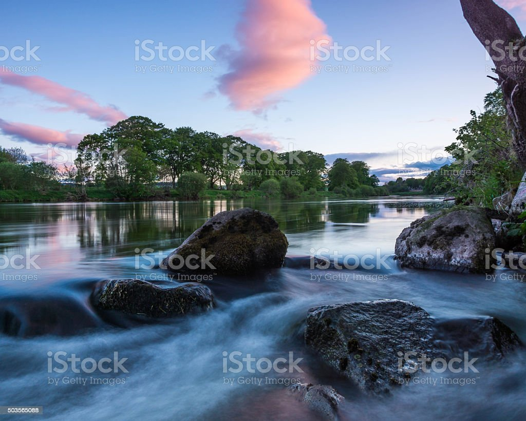 Weir at River Dee stock photo